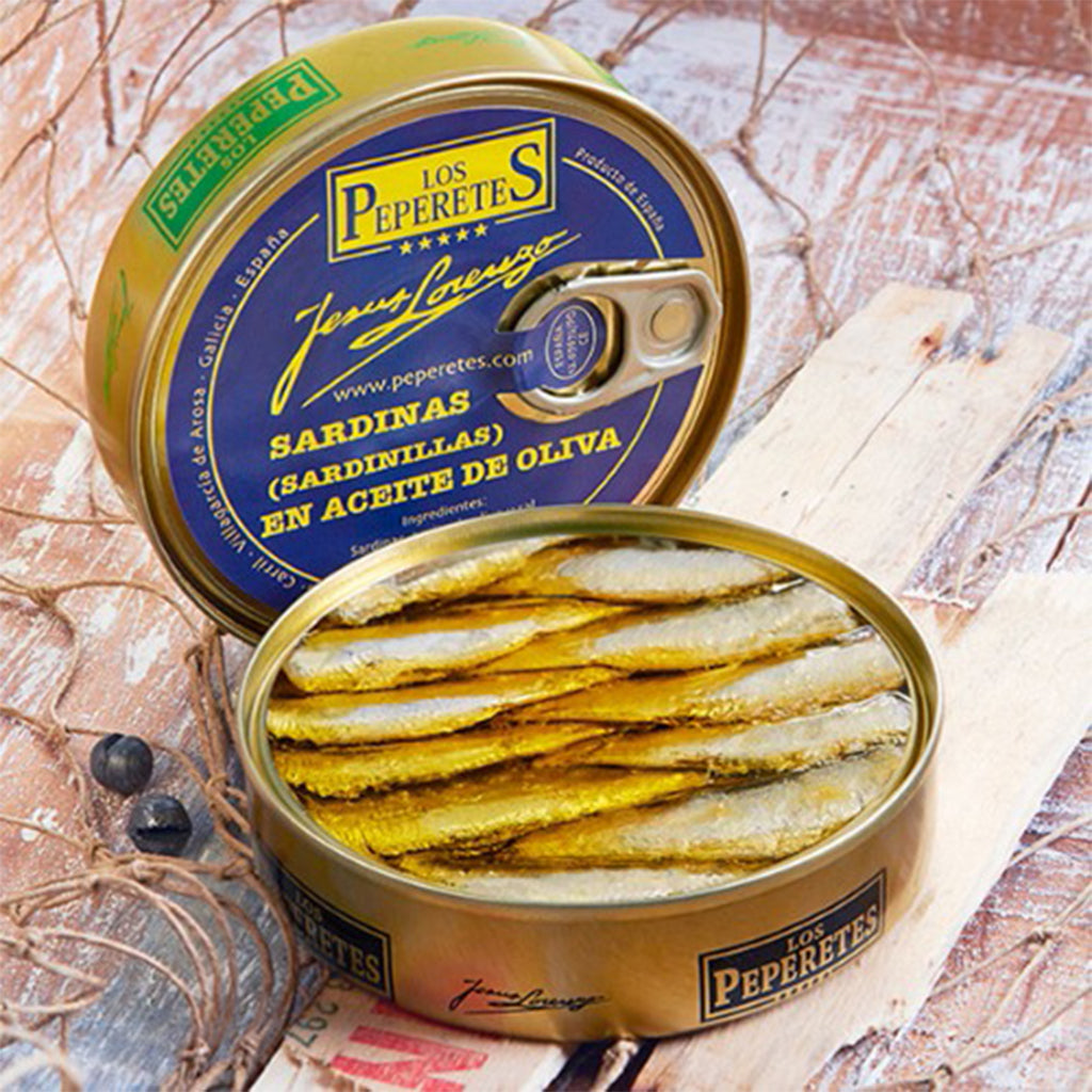 Los Peperetes Small Sardines in Olive Oil |  Spanish Seafood Conservas available for delivery in Canada | Shop Online The Spanish Store Sardinas en acetic de olive