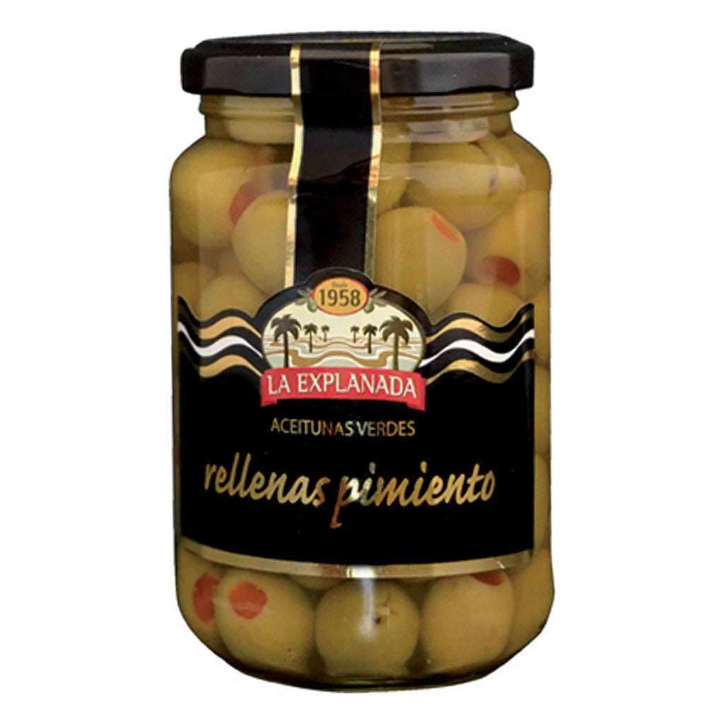 La Explanada Pepper-Stuffed Green Olives, Manzanilla | Conservas and Tapas The Spanish Store buy Spanish products online | Rellenas Pimiento