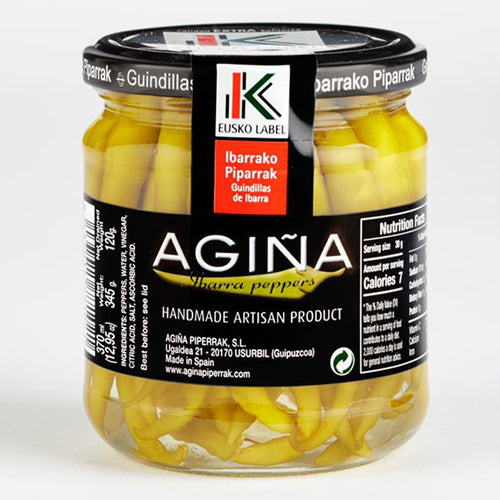 Agiña Chilli Peppers - Piparra Eusko Quality (370 mL), the Spanish Store, Shop Spanish products online, Toronto Ontario