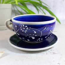 Antonio Ortiz handmade ceramics cup and saucer in blue and white, imported from Spain,  The Spanish Store, Shop Spanish products online, Toronto Ontario Hamilton Ontario
