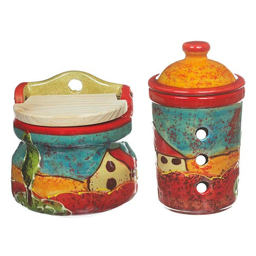 Antonio Ortiz 2-Piece Salt and Garlic Container Set