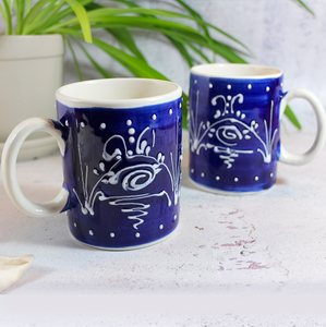 Antonio Ortiz 2 Piece Mug Set in Blue and White, Handmade Ceramics from Spain available in Canada, The Spanish Store, Shop Spanish products online, Toronto Ontario Hamilton Ontario