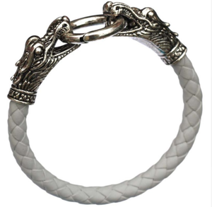 Leather Mens Bracelet with Locking Stainless Steel Dragon Head Clasp - Greyson&Co