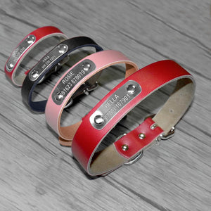 Personalized Leather Engraved Nameplate Dog Collar - Greyson&Co