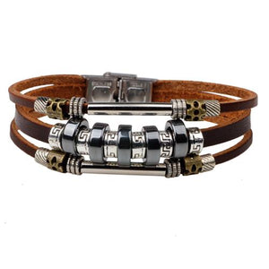 Rune Vintage Leather Bracelet - Greyson&Co