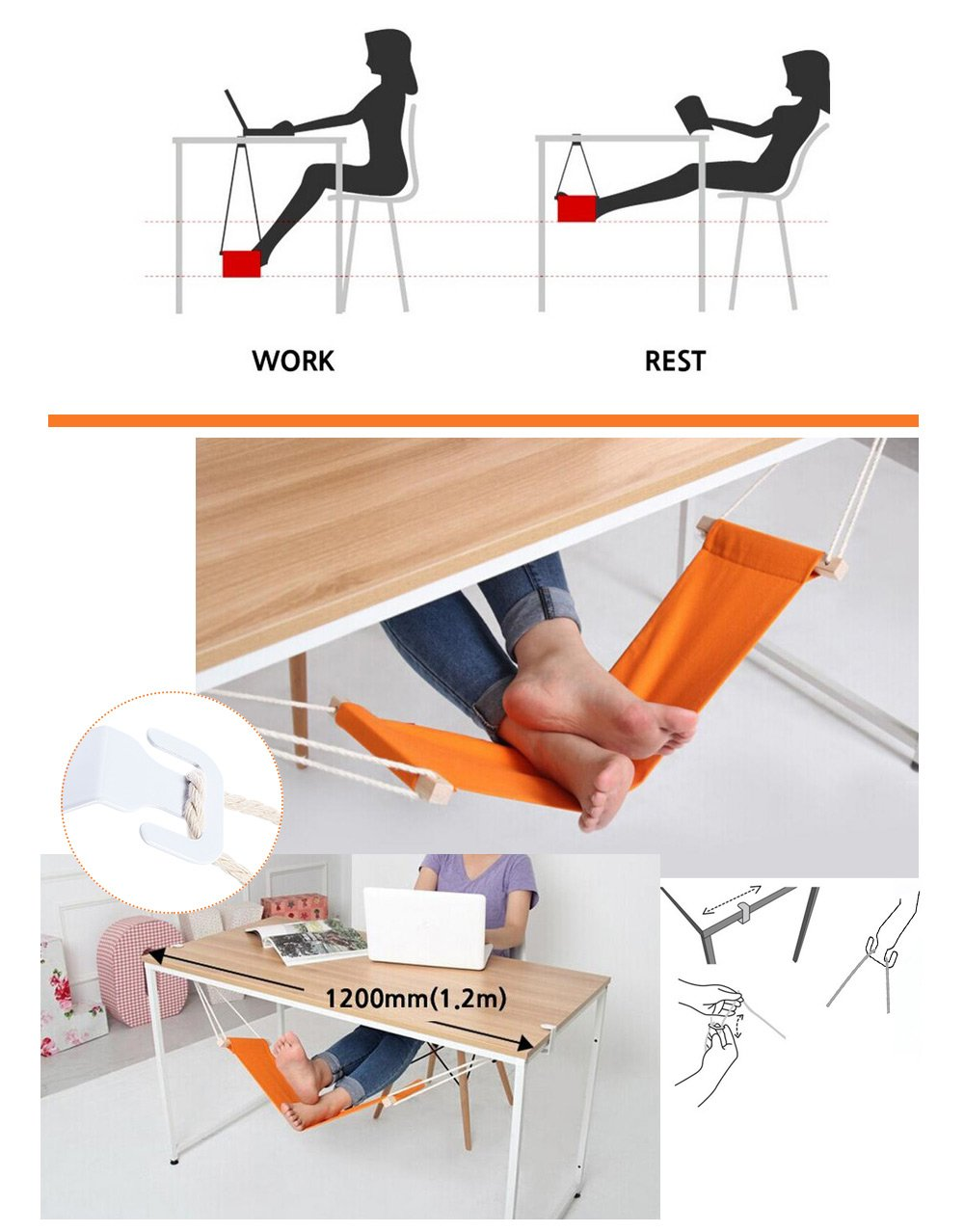 Adjustable Desk Hammock - Greyson&Co