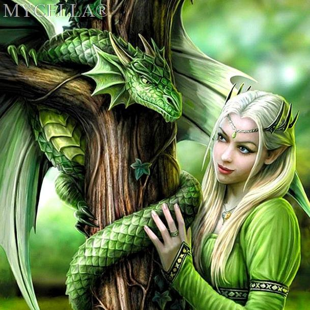 5D DIY Green Princess & Dragon Diamond Painting Kit - Greyson&Co