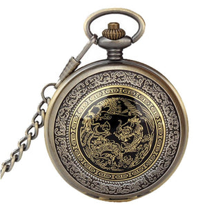 Bronze Dragon & Phoenix Pocket Quartz Watch - Greyson&Co