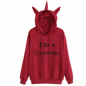 Drawstring Unicorn Letter Graphic Hoodie - Greyson&Co