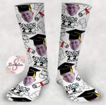2020 Quarantined Grad - Graduation Socks - Customized Grad Face Design Socks - Custom Photo Socks - Picture Socks - Your Face On A Pair Of Socks - Unique Graduation Gift