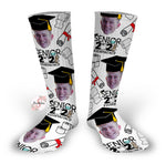 2021 Quarantined Grad - Graduation Socks - Customized Grad Face Design Socks - Custom Photo Socks - Picture Socks - Your Face On A Pair Of Socks - Unique Graduation Gift
