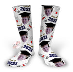 Class of 2021 Grad - Graduation Socks - Customized Grad Face Design Socks - Custom Photo Socks - Picture Socks - Your Face On A Pair Of Socks - Unique Graduation Gift