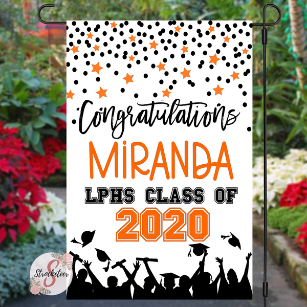Personalized Graduation Yard Flag Sign - Graduation Garden Flag With Custom Colors - Graduation Gift Idea - 2020 Graduate - Congratulations
