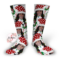 Mrs. Claus Personalized Face Design Socks - Christmas Socks - Customized Face Design Socks - Custom Photo Socks - Picture Socks - Your Face On A Pair Of Socks