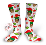 Elf Design Personalized Face Design Socks - Christmas Socks - Customized Face Design Socks - Custom Photo Socks - Picture Socks - Your Face On A Pair Of Socks