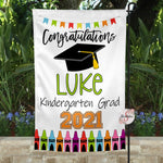 Personalized Kindergarten Graduation Yard Flag Sign - Graduation Garden Flag With Custom Colors & Name - Graduation Gift Idea - 2021 Graduate - Kindergarten