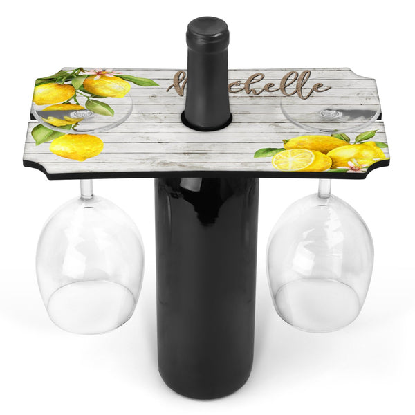 Lemons Personalized Wine Caddy - Holds Two Glasses & Bottle Of Wine - Custom Wine Caddy - Wine Holder - Wine Glass Display - Anniversary / Wedding