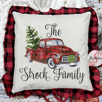 Personalized Christmas Truck Pillow - Red & Black Buffalo Check Pillowcase with Personalized Name - Customized Bed Pillow - Christmas Decor