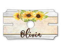 Sunflowers Personalized Wine Caddy - Holds Two Glasses & Bottle Of Wine - Custom Wine Caddy - Wine Holder - Wine Glass Display - Anniversary / Wedding
