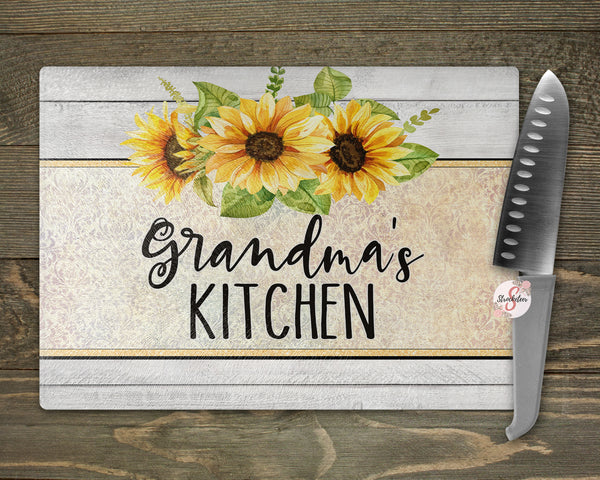 Sunflower Kitchen Personalized Tempered Glass Cutting Board Kitchen Décor Personalized Kitchen Custom Cutting Board - Mom Gift Wedding Gift