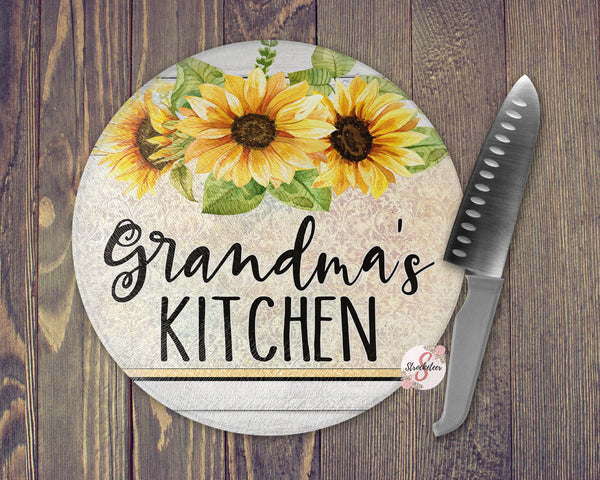ROUND Sunflower Kitchen Personalized Tempered Glass Cutting Board Kitchen Décor Personalized Kitchen Custom Cutting Board