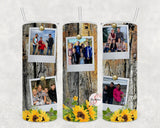 Sunflowers & Photos Personalized Stainless Steel Tumbler with Straw & Lid
