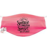 Fashion Face Cover - Lightweight Fabric Adult Size Face Cover - Reusable and Washable Face Cover - Dust Cover - Sunrise Sunset Sunburn