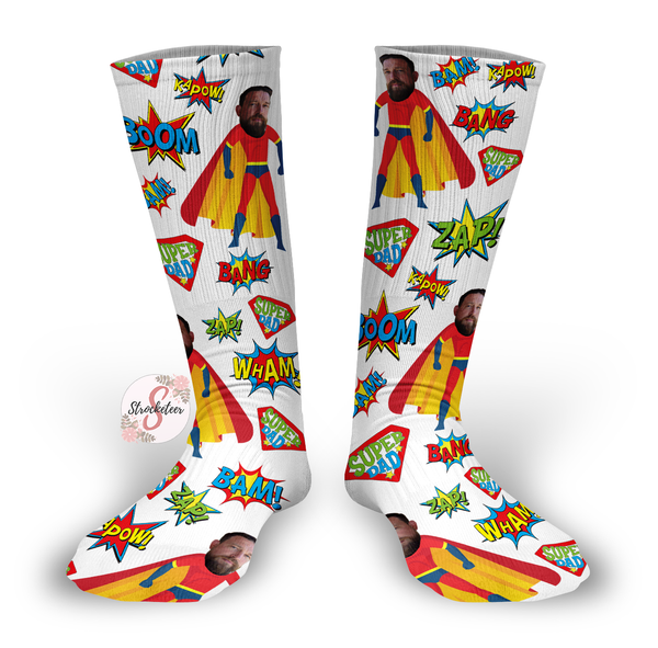 Customized Father's Day Face Design Socks - Custom Photo Socks - Picture Socks - Your Face On A Pair Of Socks