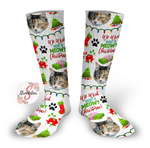 We Wish You A MEOWY Christmas Cat Christmas Socks Personalized Face Design Socks - Christmas Socks - Pet Face Design Socks - Personalized Photo Socks - Picture Socks