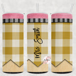 Yellow Check Pencil Personalized Stainless Steel Tumbler with Straw & Lid