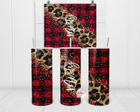 Black and Red Plaid with Cheetah Print Personalized Stainless Steel Tumbler with Straw & Lid