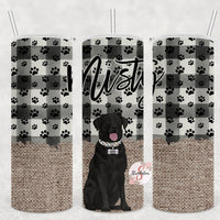 Black Lab & Burlap Check Personalized Stainless Steel Tumbler with Straw & Lid