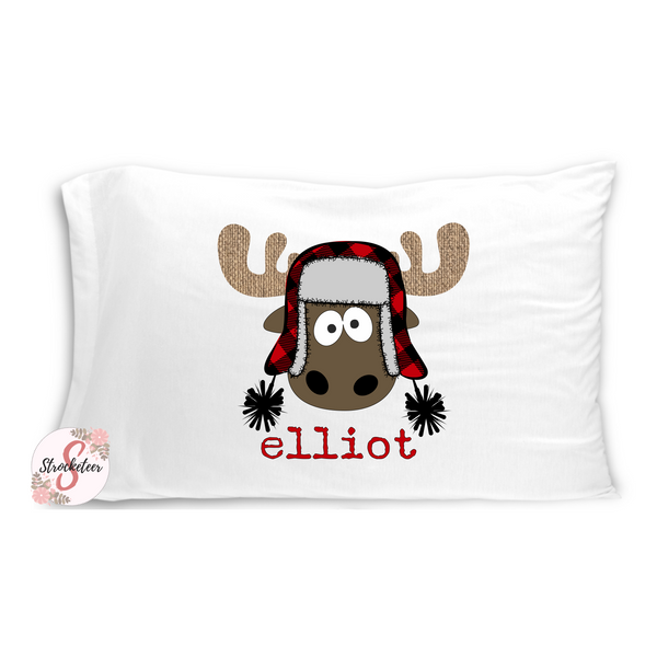 Cute Christmas Boy MOOSE Pillowcase with Customized Name - Customized Bed Pillow - Christmas Eve Box Idea