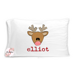 Cute Christmas Boy Reindeer Pillowcase with Customized Name - Customized Bed Pillow - Christmas Eve Box Idea