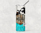 Cowhide & Turquoise Personalized Stainless Steel Tumbler with Straw & Lid