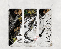 Fishing & Camo Personalized Stainless Steel Tumbler with Straw & Lid