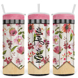 Teacher Floral Pencil Personalized Stainless Steel Tumbler with Straw & Lid