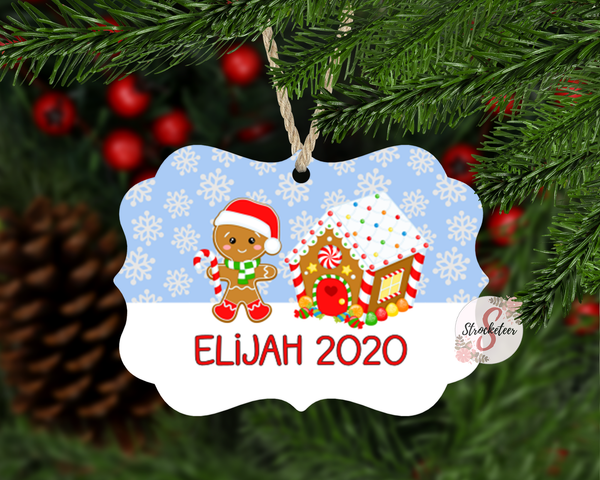 Gingerbread Boy Customized / Personalized Christmas Ornament With Custom Name and Year Added