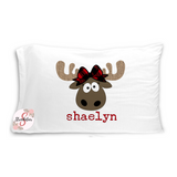 Cute Christmas Girl MOOSE Pillowcase with Customized Name - Customized Bed Pillow - Christmas Eve Box Idea