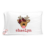 Cute Christmas Girl Reindeer Pillowcase with Customized Name - Customized Bed Pillow - Christmas Eve Box Idea