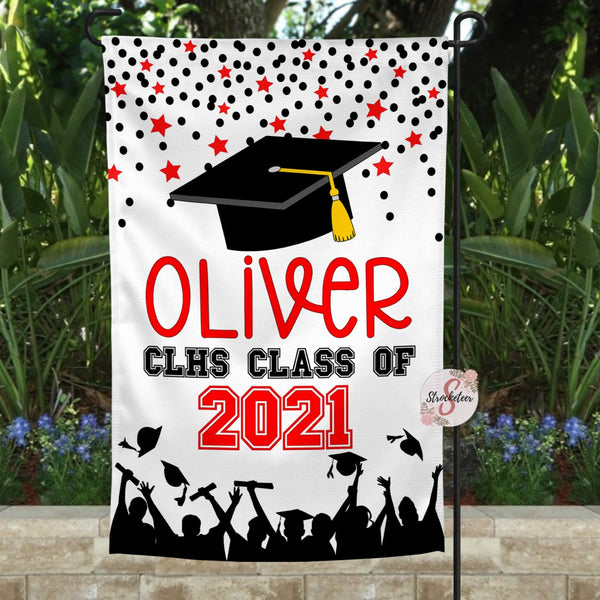 Personalized Graduation Yard Flag Sign - Graduation Garden Flag With Custom Colors - Graduation Gift Idea - 2021 Graduate - Grad Cap