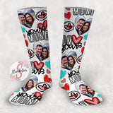 You're Mine, I'm Yours - Customized Valentine's Day Face Design Socks - Custom Photo Socks - Picture Socks - Your Face On A Pair Of Socks - Unique Valentine's Day Gift