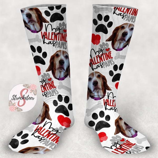 My Valentine Has Paws - Pet Face Socks - Customized Valentine's Day Face Design Socks - Custom Photo Socks - Picture Socks - Your Face On A Pair Of Socks - Unique Valentine's Day Gift