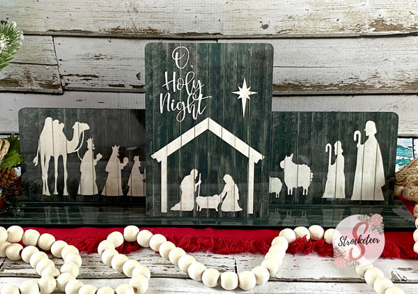 Christmas Nativity Scene - Handmade Hardboard frames with base
