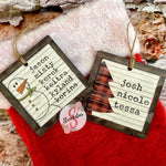 Square Vintage Style Personalized Christmas Ornament With Custom Names Added - 5 Design Choices