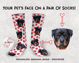 Customized Pet Face Socks With Paw Print Design - Custom Photo Socks - Picture Socks - Your Pets Face On A Pair Of Socks