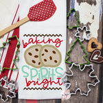 Baking Spirits Bright - Christmas Decor Hand Towel - Kitchen Accessories