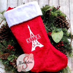 Custom Eiffel Tower Paris Christmas Stocking - Includes Custom Name