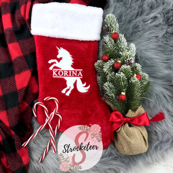 Custom Unicorn Christmas Stocking - Includes Custom Name