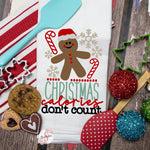 Christmas Calories Don't Count - Christmas Decor Hand Towel - Kitchen Accessories
